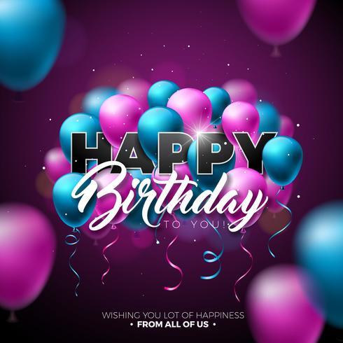 Buon compleanno disegno vettoriale con palloncino, tipografia e 3d elemento su sfondo lucido. Illustrazione per la festa di compleanno. biglietti di auguri o poster.
