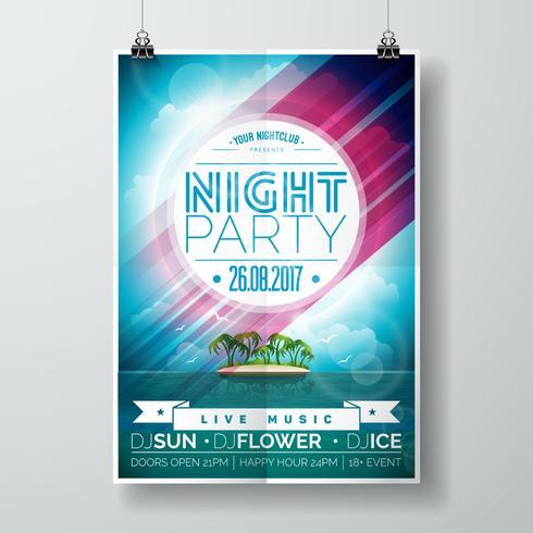 Vector Summer Night Party Flyer Design con isola paradiso sul paesaggio dell'oceano
