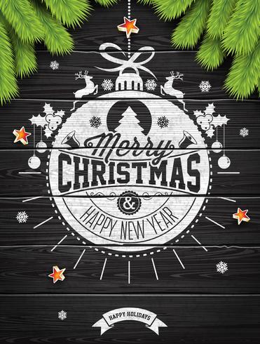 Vector Buon Natale vacanze e felice anno nuovo illustrazione con design tipografico e fiocchi di neve su fondo in legno wintage.