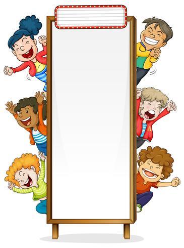 Modello di confine con bambini felici vettore
