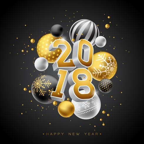 Illustrazione del buon anno 2018 con il numero dell'oro 3d e palla ornamentale su fondo nero. Vector Holiday Design per Premium Greeting Card, Party Invitation o Promo Banner.