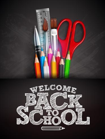 Torna a scuola design con matita colorata, penna e tipografia scritta su sfondo nero lavagna. Illustrazione vettoriale con righello, forbici, pennello per biglietto di auguri