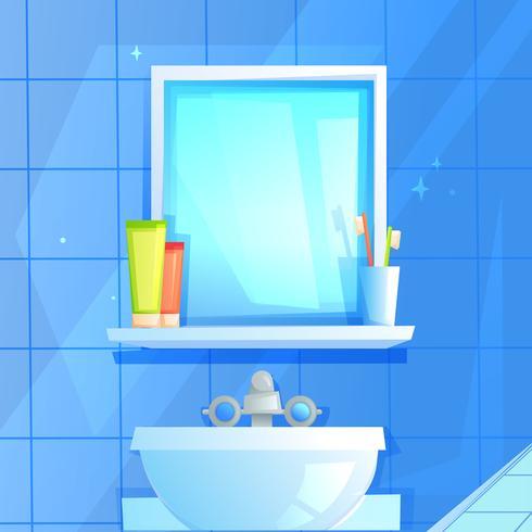 Specchio con una mensola su cui un bicchiere, dentifricio e pennello vettore