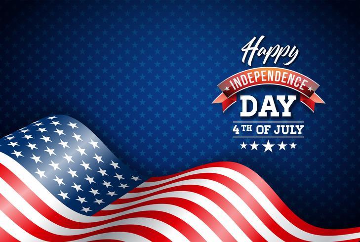 Felice giorno dell'indipendenza degli Stati Uniti illustrazione vettoriale. Design di quarto di luglio con bandiera su sfondo blu per Banner, Greeting Card, Invito o Poster di festa. vettore