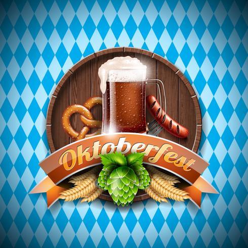 Illustrazione vettoriale Oktoberfest con birra scura fresca su sfondo bianco blu