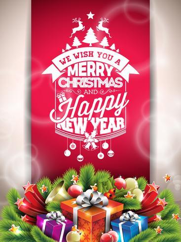 Vector Merry Christmas Happy Holidays illustrazione con design tipografico