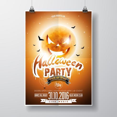 Vector Halloween Party Flyer Design con elementi tipografici e luna di zucca