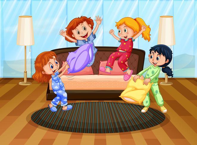 Quattro ragazze in pigiama che giocano con i cuscini vettore