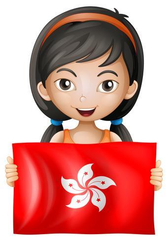 Ragazza felice con la bandiera di Hong Kong vettore