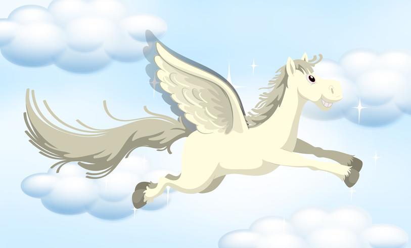 Un pony di fiaba sul cielo vettore