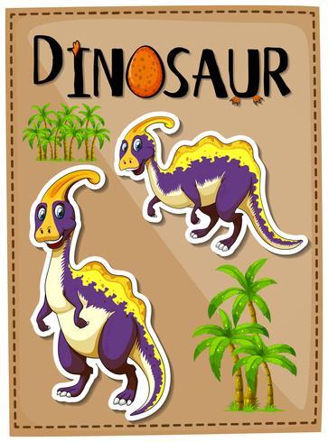 Poster di dinosauro con due parasaurolophus vettore