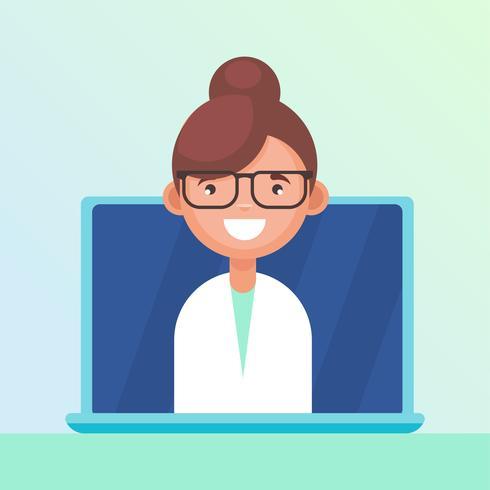 L'infermiera risponde alle domande sul portatile vettore