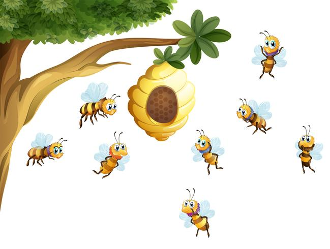 Un albero con un alveare circondato dalle api vettore