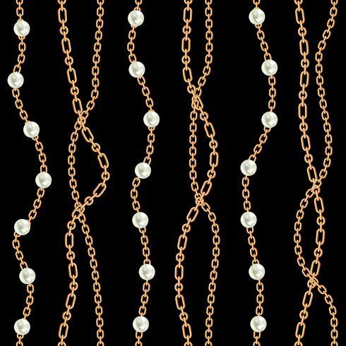 Fondo senza cuciture con collana metallica dorata di pere e catene. Sul nero Illustrazione vettoriale
