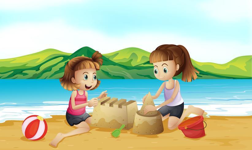 Due amici che fanno un castello in spiaggia vettore