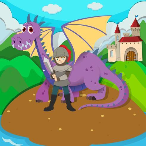 Cavaliere e drago sull'isola vettore