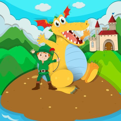 Cacciatore e drago giallo sull'isola vettore