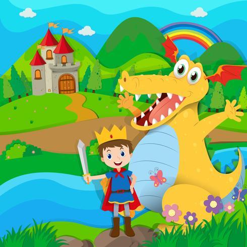 Cavaliere e drago nella terra fatata vettore