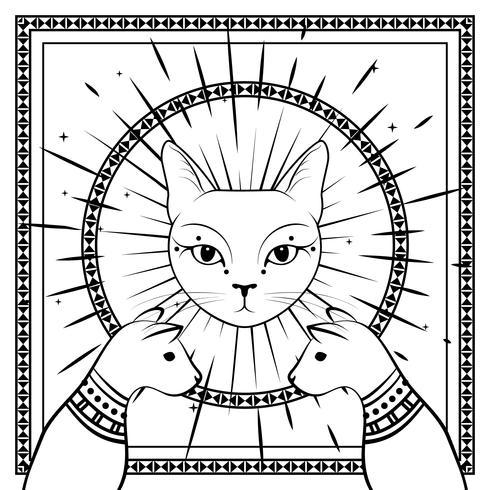 Gatti neri, faccia di gatto con la luna sul cielo notturno con cornice rotonda ornamentale. Magico, design occulto. vettore