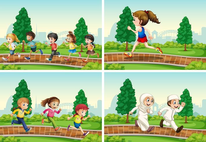 Set di bambini che corrono al parco vettore