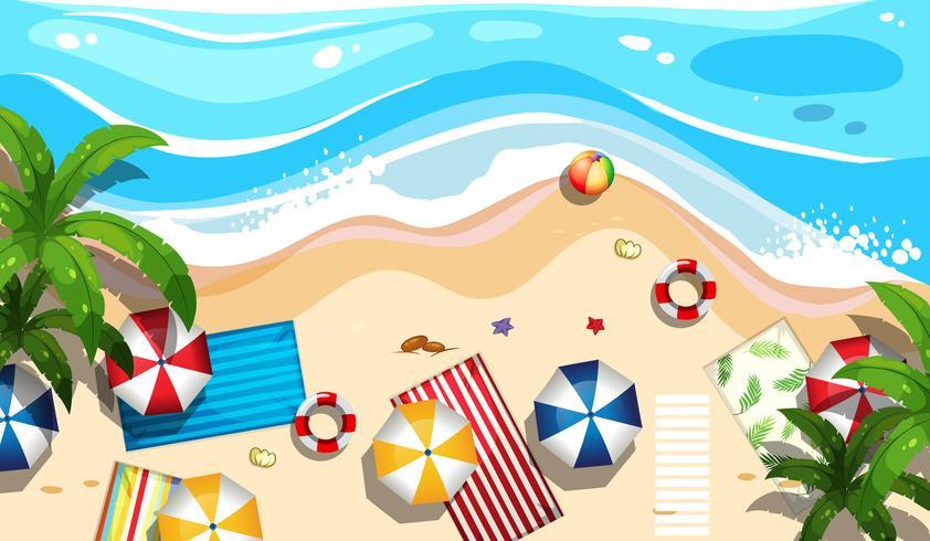 Veduta aerea della spiaggia estiva vettore