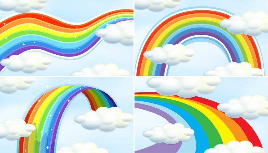 Quattro modelli di arcobaleno nel cielo vettore