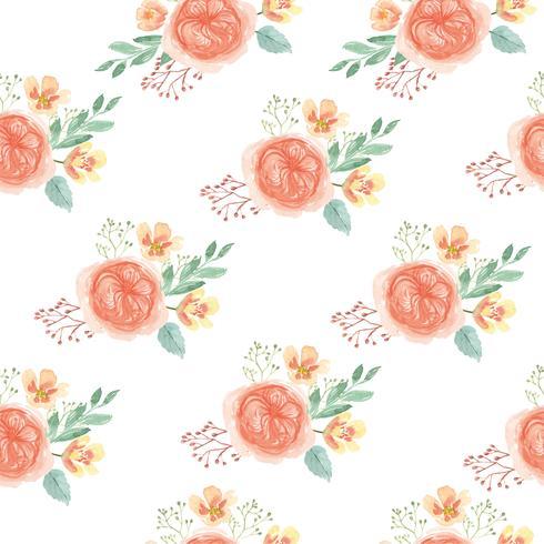 Tessuto d'annata fertile floreale di stile dell'acquerello del modello senza cuciture, acquerello dei fiori isolato su fondo bianco. Disegnare fiori decorativi per carta, salvare la data, inviti di nozze, poster, banner design. vettore