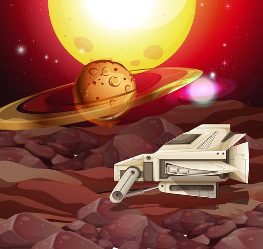 Scena di sfondo con astronave sul pianeta vettore