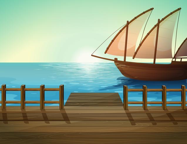 Una nave e un porto marittimo vettore