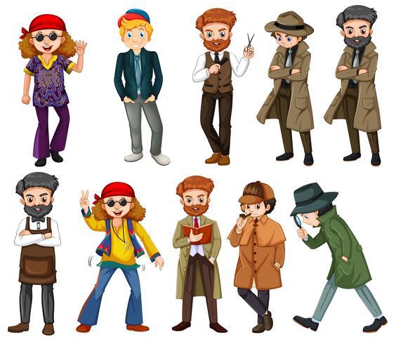 Una serie di personaggi maschili vettore