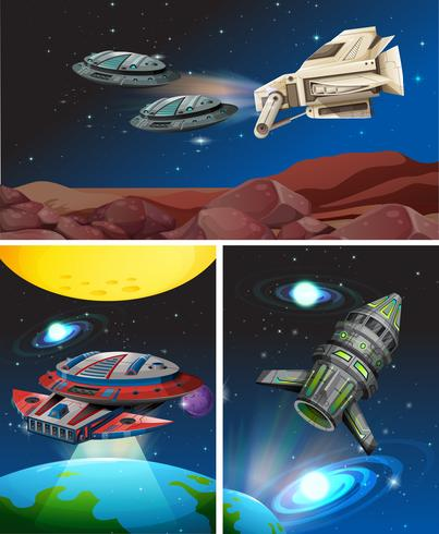 Tre scene con astronavi nello spazio vettore