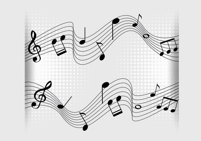 Disegno di sfondo con note musicali su scale vettore