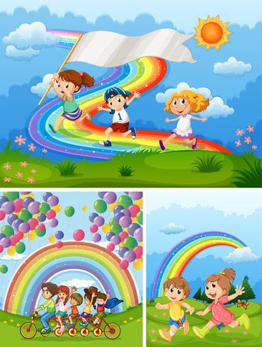 Persone felici nel parco con arcobaleno sullo sfondo vettore