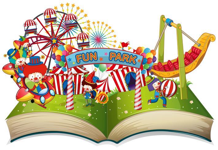 Tema del parco divertimenti a libro aperto vettore
