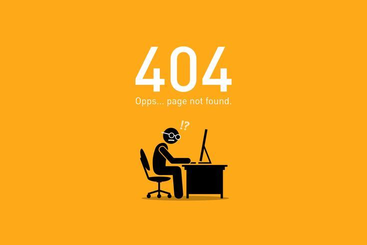 Errore sito Web 404 Pagina non trovata. vettore