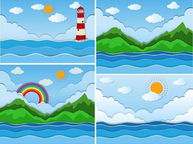 Scene con oceano e montagne vettore