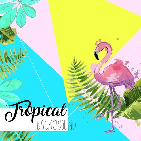 Banner di foglie tropicali e flamingo estate. vettore