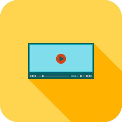 icona del lettore video piatta lunga ombra vettore