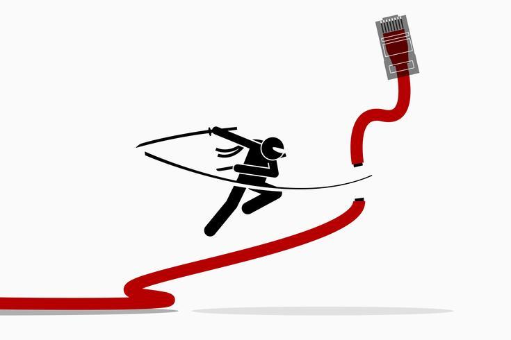 Ninja taglia il cavo di rete LAN Ethernet. vettore