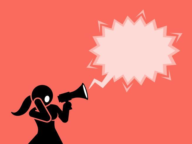 Una donna che urla tramite un megafono o un altoparlante. vettore