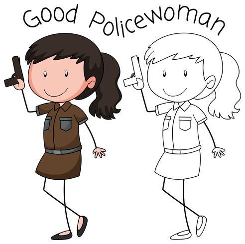 Un personaggio di donna poliziotto vettore
