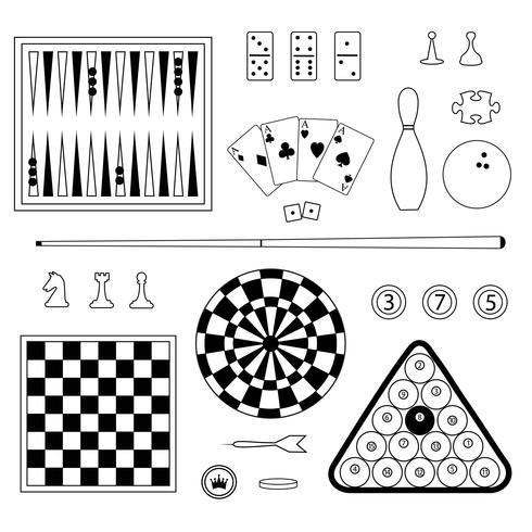 francobolli digitali di giochi di contorno nero vettore