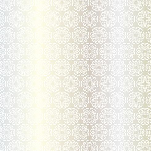 motivo a medaglione circolare ornato in argento bianco vettore