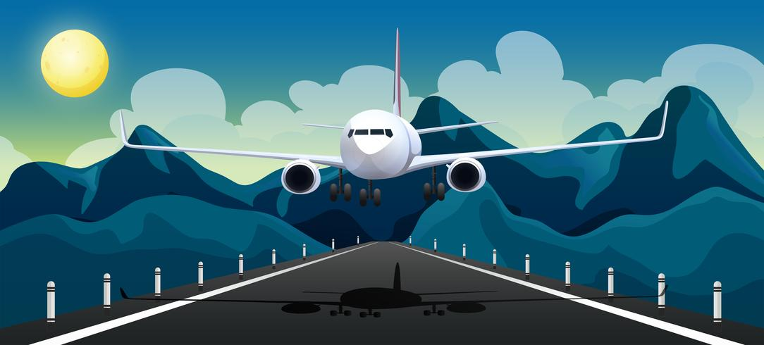Un aereo che decolla pista vettore
