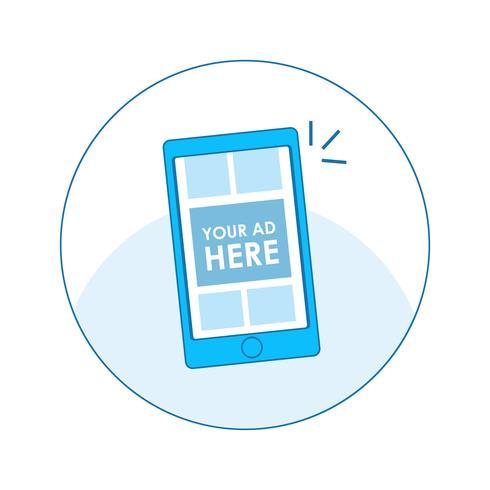 Banner seo pubblicità digitale. Computer, telefono e tablet con design adattivo con annunci e pay per click. Illustrazione di linea piatta vettoriale