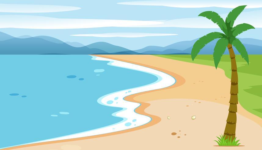 Un paesaggio di spiaggia piatta vettore