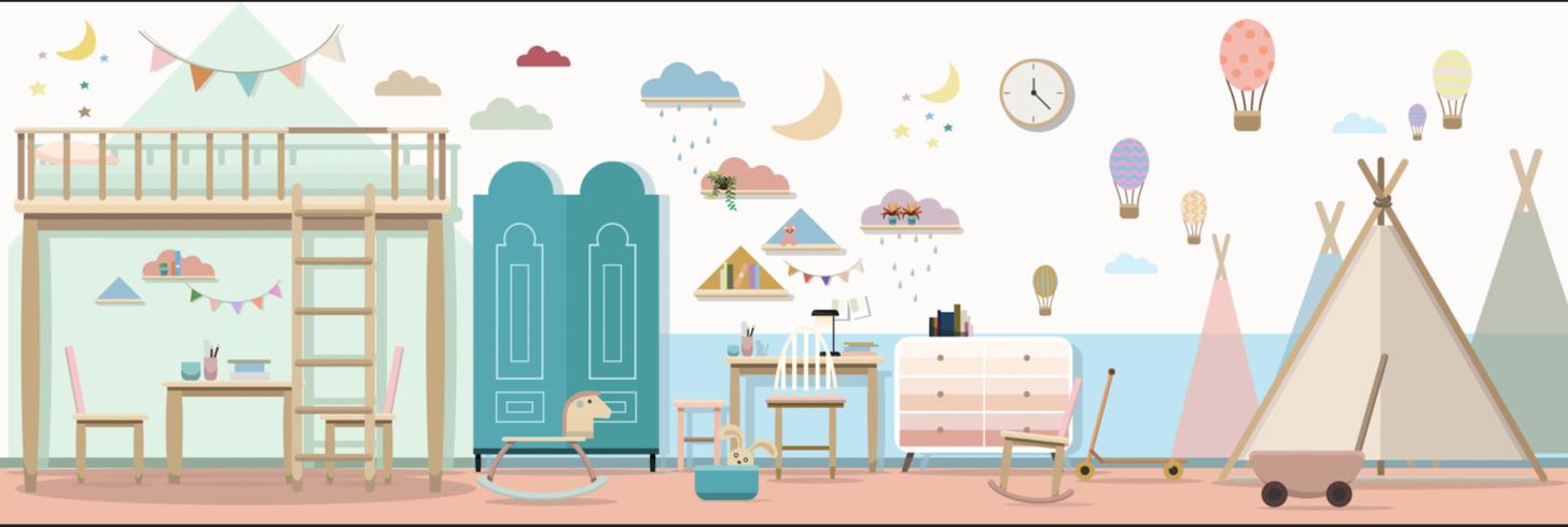 Interno camera da letto per bambini bella camera con mobili e giocattoli vettore