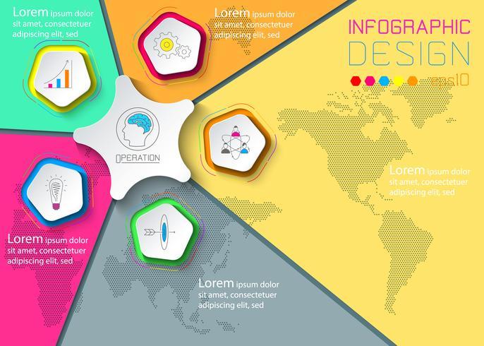 Cinque cerchi con infografica icona aziendale su sfondo di mappa del mondo. vettore