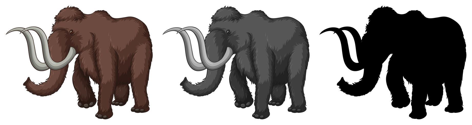 Set di personaggio dei cartoni animati mammut vettore