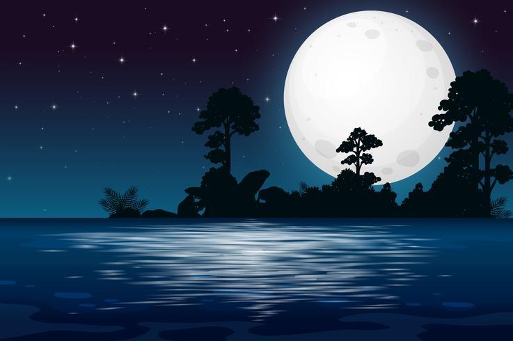 Una notte di luna piena al lago vettore